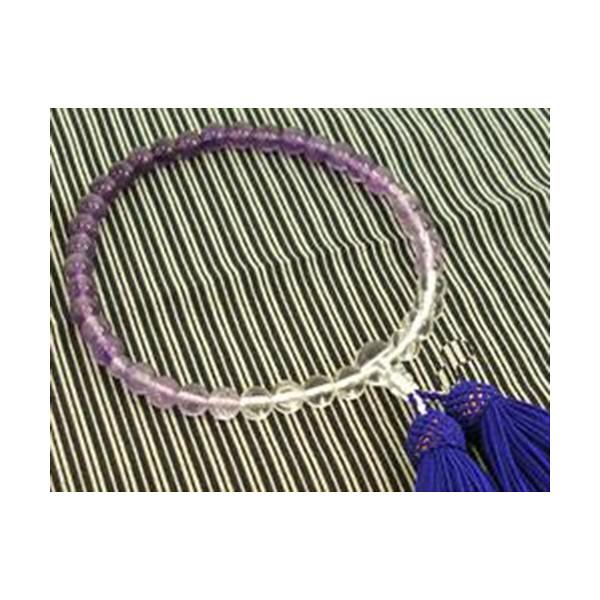 数珠 紫水晶グラデーション 7mm水晶
