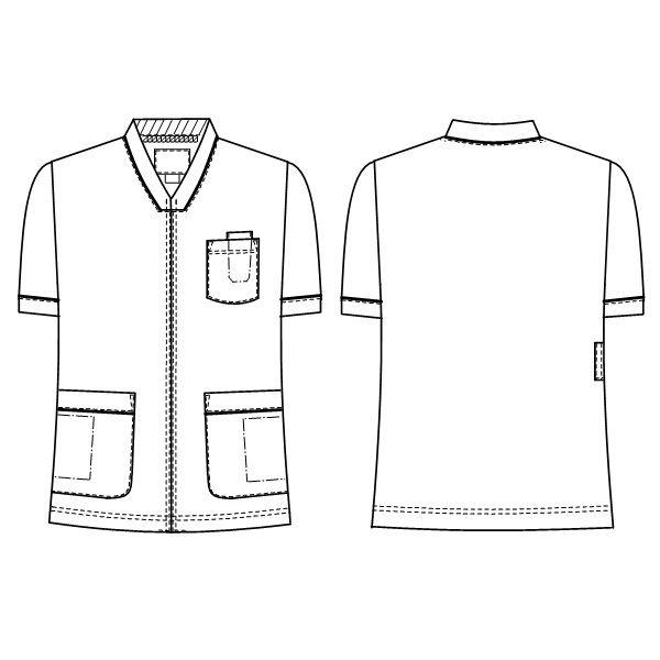 ナガイレーベン 男女兼用スクラブ 医療白衣 半袖 Tオレンジ BL HOS-4977 (取寄品)