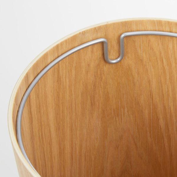 木製ごみ箱・ オーク材突板・丸型