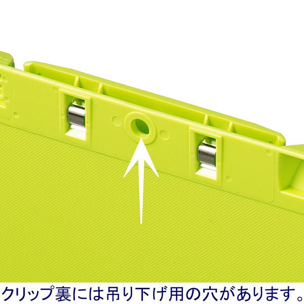 クリップボード A4タテ 5枚 グリーン バインダー アスクル