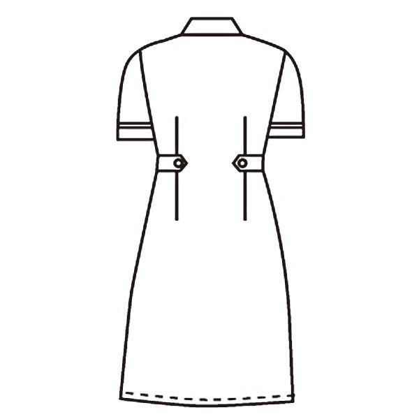KAZEN ワンピース半袖 (ナースワンピース) 医療白衣 サックスブルー(水色) L 939-11(直送品)