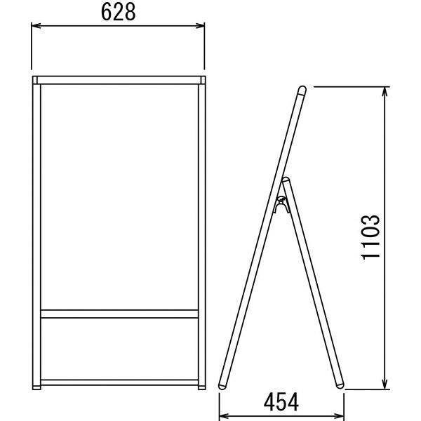 ベルク ポスタースタンド(屋内用) ホワイト A1 2371W 1台 (直送品)