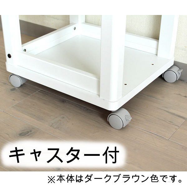 白井産業 キッチンワゴン 幅528×高さ850mm ダークブラウン 1台 (直送品)