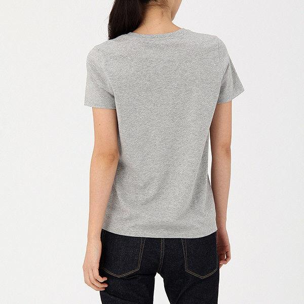 無印 V首 半袖Tシャツ 婦人L グレー