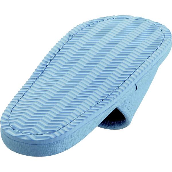レザー風外縫いスリッパ M ブルー 1箱(20足入)