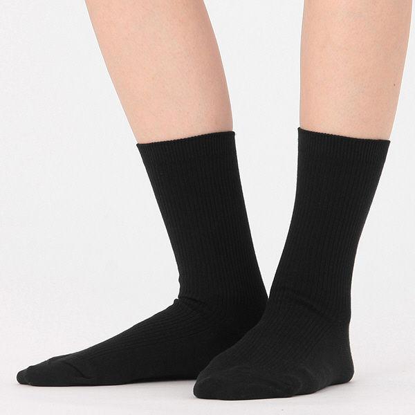 無印 足なり直角 リブ靴下 婦人 3足