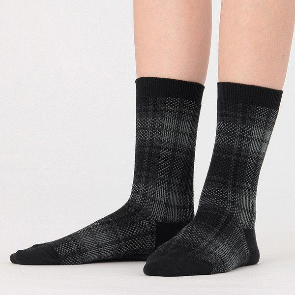 無印 足なり直角 チェック靴下婦人 3足