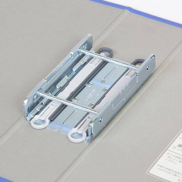 キングファイル スーパードッチ 脱着イージー A4タテ とじ厚70mm グレー キングジム 両開きパイプファイル 2477Aクレ