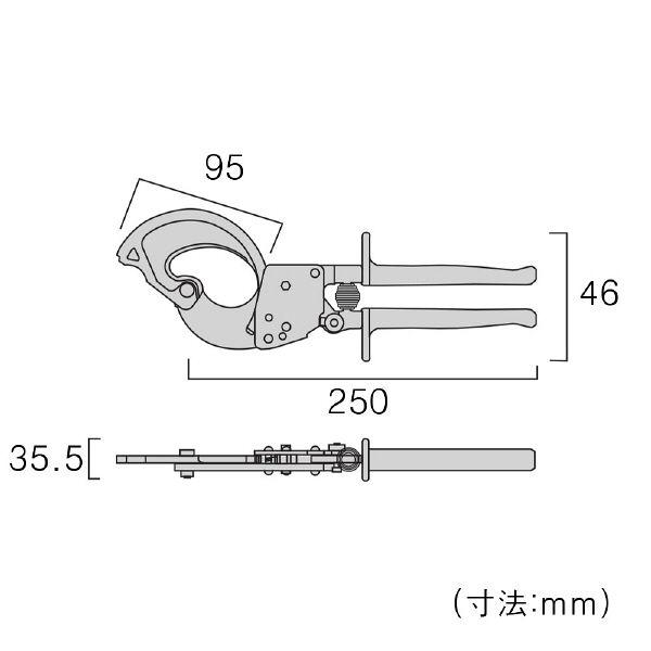 フジ矢(FUJIYA) ケーブルカッターラチェットタイプ FRC-32A 1丁 309-6203 (直送品)