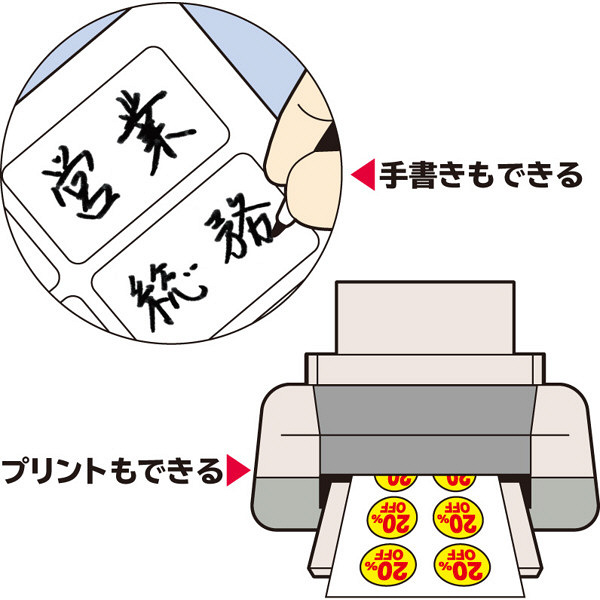 エーワン ラベルシール 丸シール 整理・表示用 プリンタ兼用 マット紙 白 はがきサイズ 28面 丸型 1袋(12シート入) 26103