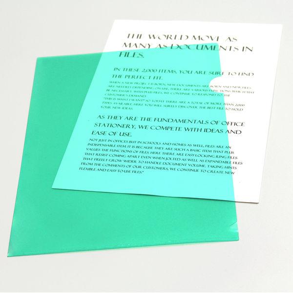 プラス カラークリアホルダー A4 1セット(30枚) グリーン