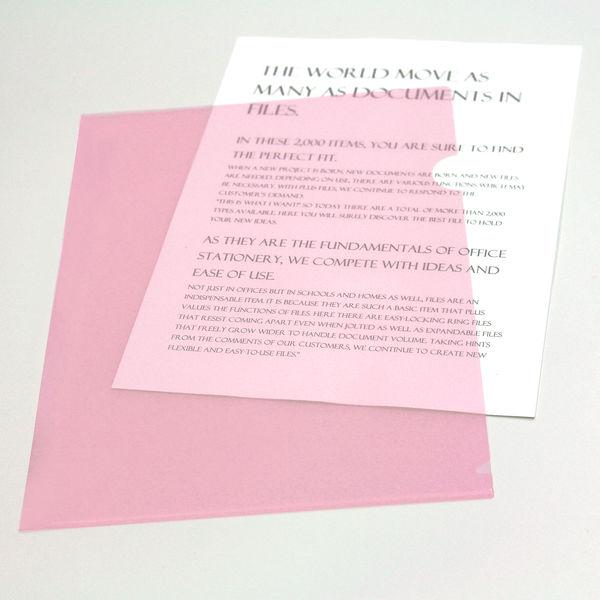 プラス カラークリアホルダー A4 1セット(30枚) ピンク