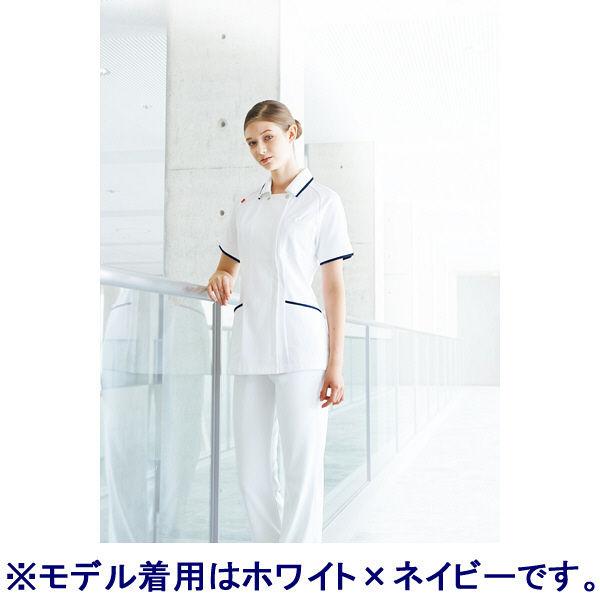 ルコックスポルティフ レディスジャケット(離れ衿) UQW1025 ホワイト×ピンク(バニラ×ピンクテープ) LL ナースジャケット 医療白衣 1枚