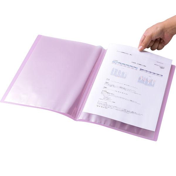 クリアファイル透明 A4縦20P ピンク