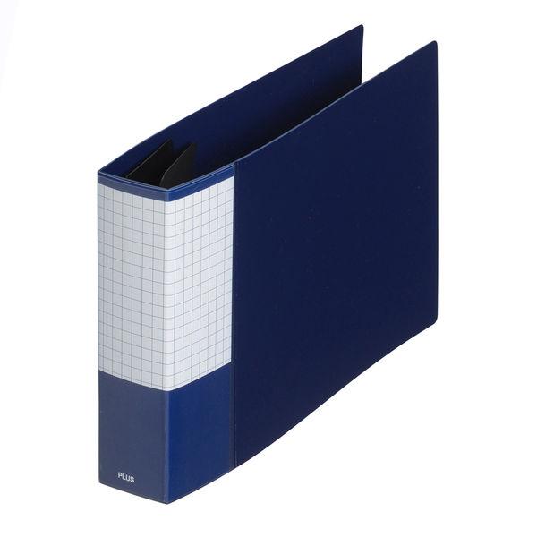 プラス 2リングファイル丸型2穴 B6ヨコ 背幅35mm スーパーエコノミー ネイビー FC-151RF