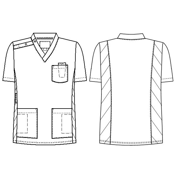 ナガイレーベン スクラブ(男女兼用) 医療白衣 半袖 ミストグリーン SS RT-5062 (取寄品)