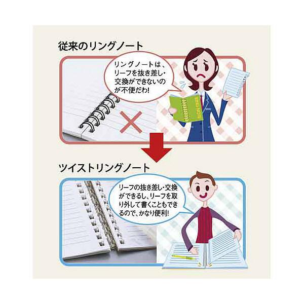 リヒトラブ ツイストリング・ノートセミB5 赤 N-1608-3 1袋(3冊入) (直送品)