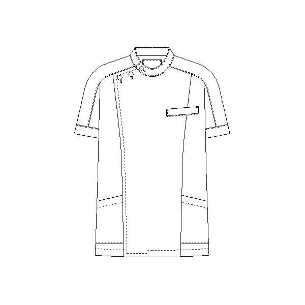 KAZEN メンズジャケット半袖(医務衣 メンズケーシー) 医療白衣 ホワイト M 253-20D