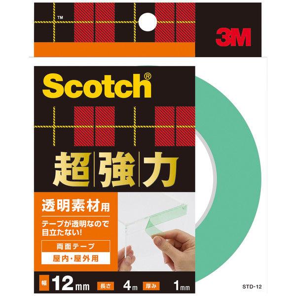 3M スコッチ(R) 超強力両面テープ 透明素材用 1.0mm厚 幅12mm×4m巻 STD-12 スリーエム ジャパン