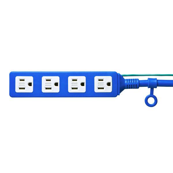 サンワサプライ 電源タップ(高強度タップ) ブルー 3P式/4個口/10m/踏みつけ・よじれ・挟み込み対応/RoHS指令対応 TAP-HP4-10BL(直送品)