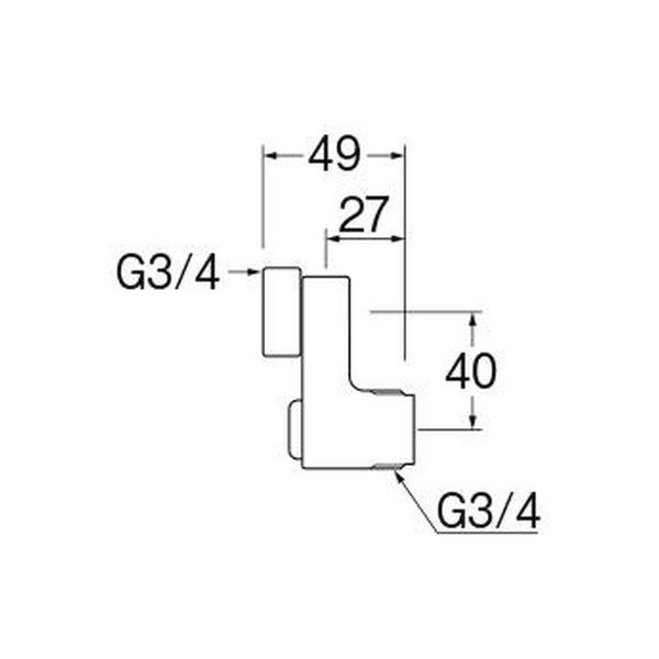 SANEI 後付け偏心管 PU3-75XS-40 1個(直送品)