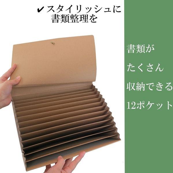 アイ・エス ドキュメントファイル A4サイズ 12ポケット クラフト色 紙製 ISDF-01 2個(直送品)