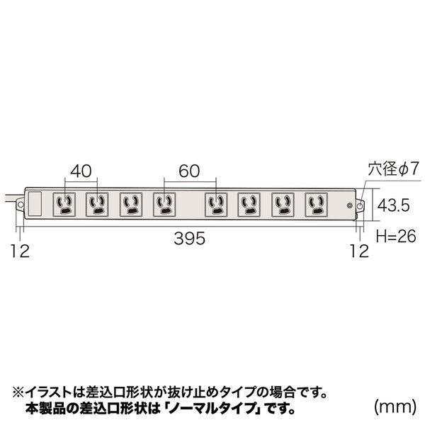 サンワサプライ 工事物件タップ ホワイト エコケーブル採用/マグネット付/RoHS指令対応 3P式 8個口 3m TAP-KE8N-3 1個 (直送品)