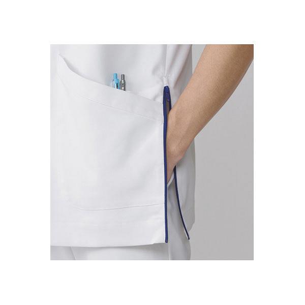 KAZEN クラリタメンズジャケット 半袖 ホワイト×ネイビー L CIS300-C28 (直送品)