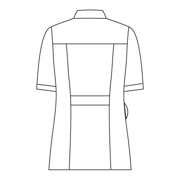 住商モンブラン ラウンドカラージャケット 医療白衣 レディス 半袖 ホワイト×ネイビー LL 73-1968 (直送品)