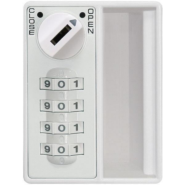 ぶんぶく 機密書類回収ボックス大ダイヤル錠仕様ホワイト (直送品)