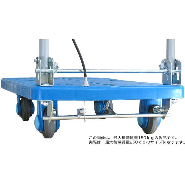 カナツー 静音樹脂台車250kgハンドル折畳ハンドストッパー PLA250-DX-HS (直送品)