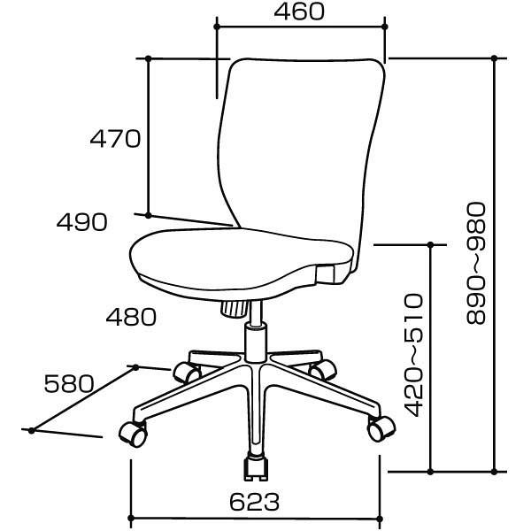 ナカバヤシ シンクロロッキングチェア オフィスチェア 肘無し ブラック CGS-101D 1脚 (直送品)