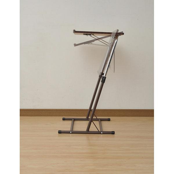 YAMAZEN 昇降式サイドテーブル ダークブラウン/ブラウン 幅550×奥行460~510×高さ605~840mm 1台 (直送品)