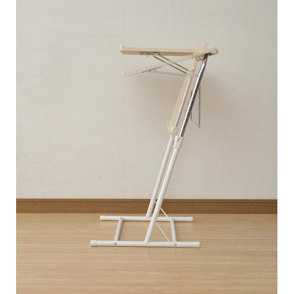 YAMAZEN(山善) 昇降式サイドテーブル ナチュラルメープル/アイボリー 幅550×奥行460~510×高さ605~840mm 1台 (直送品)