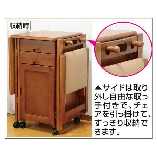 ファミリー・ライフ 木製折りたたみデスク&チェア 片袖机 ブラウン 1セット (直送品)