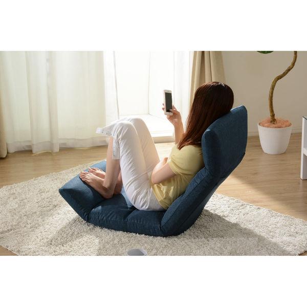セルタン 座椅子 和楽の雲 上タイプ 幅540×奥行730~1380×高さ120~700mm タスクブルー (直送品)