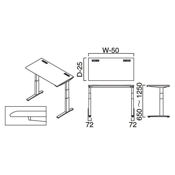 岡村製作所(オカムラ) スイフト スタンディングデスク 上下昇降式 平机 ホワイト/ブラック 幅1200×奥行700×高さ650~1250mm 1台 (直送品)