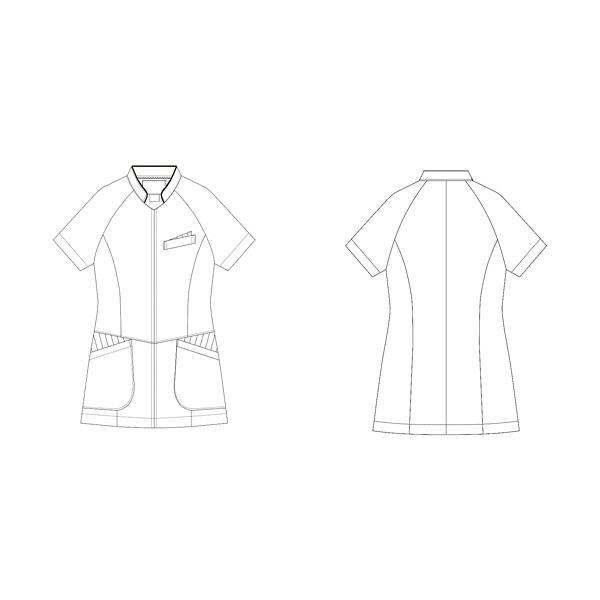 KAZEN レディスジャケット半袖 医療白衣 ホワイトXネイビー L 054-28 (直送品)