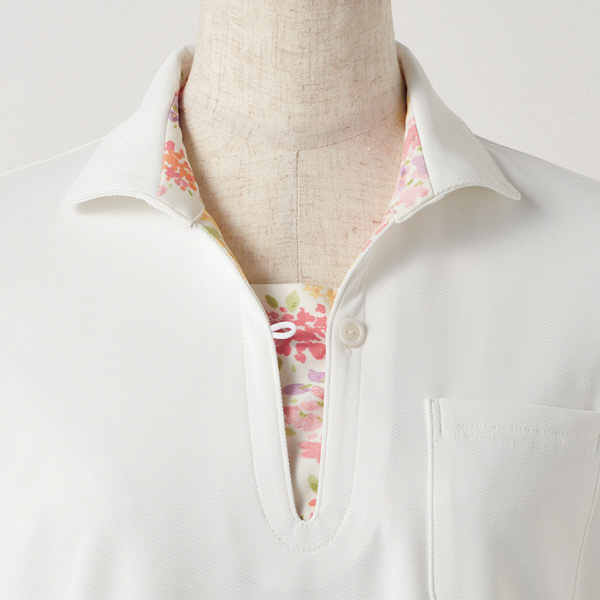 住商モンブラン レディスニットシャツ オフ白×アメリピンク L LW203-12 (直送品)