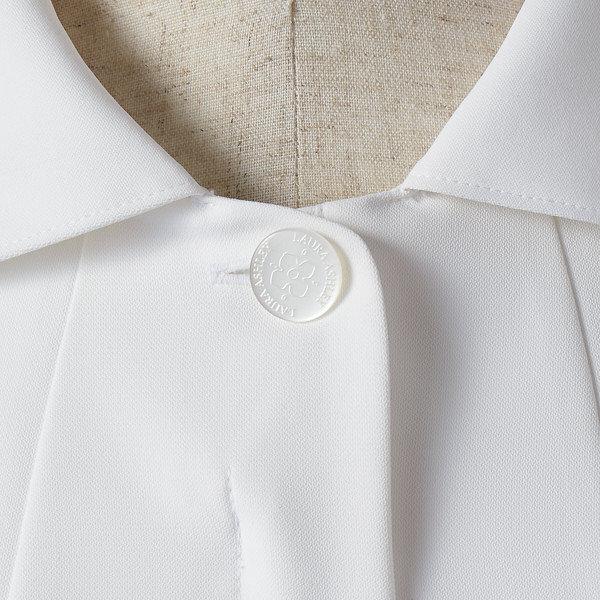 住商モンブラン ローラアシュレイ ナースジャケット レディス 半袖 オフホワイト×アメリピンク LL LW803-12 (直送品)