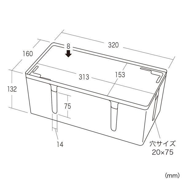 サンワサプライ ケーブル&タップ収納ボックス CB-BOXP2BKN2 (直送品)