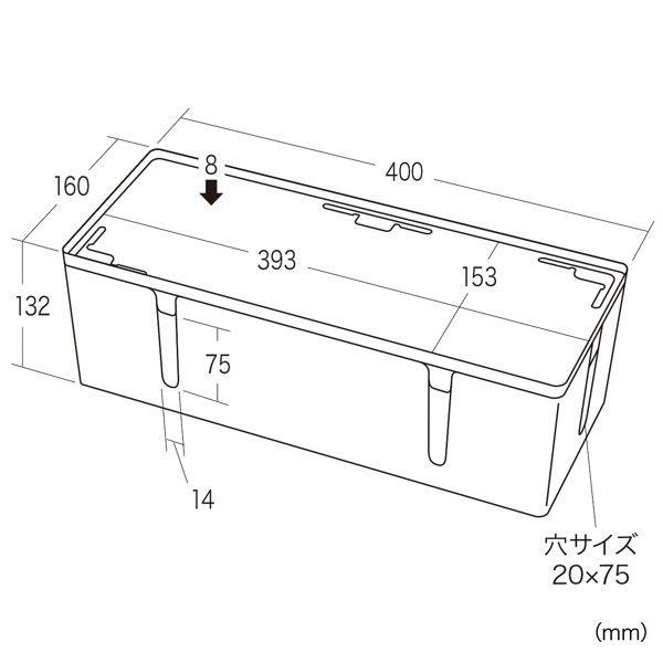 サンワサプライ ケーブル&タップ収納ボックス CB-BOXP3WN2 (直送品)