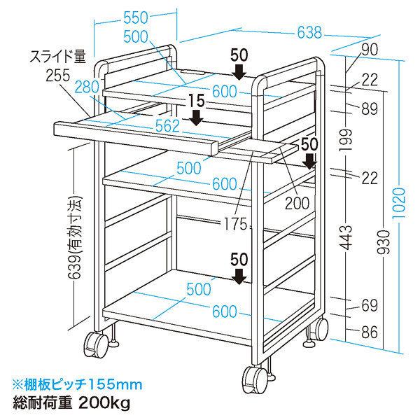 サンワサプライ SOHOラック RAC-S600L 高さ1020mm 1台 (直送品)