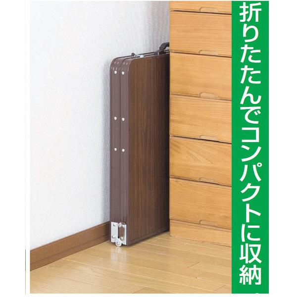 ファミリー・ライフ 木目調軽量折りたたみテーブル ブラウン 幅900×奥行600×高さ410・700mm 1台 (直送品)