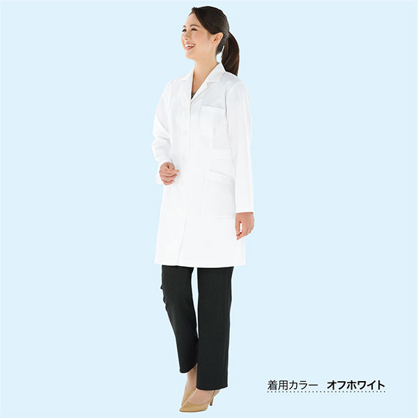 KAZEN レディス薬局衣(ハーフ丈) ドクターコート 医療白衣 長袖 ミントグリーン シングル S 261 (直送品)