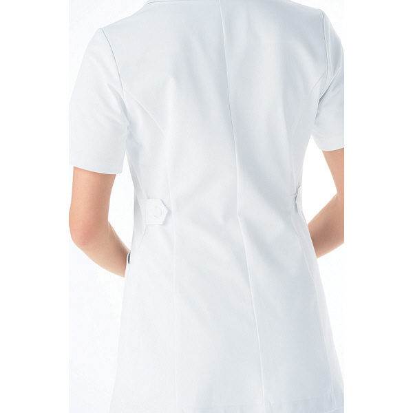 KAZEN レディスジャケット 医療白衣 半袖 ホワイトXオリーブ L 072-22 (直送品)