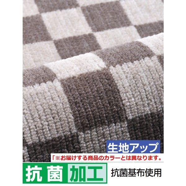 格子キッチンマット グリーン80×240