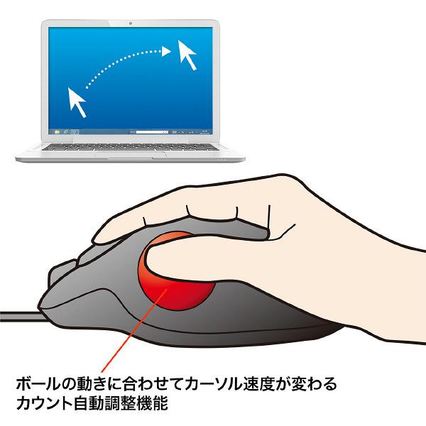サンワサプライ 有線トラックボール レッド レーザー方式/6ボタン MA-TB44R (直送品)