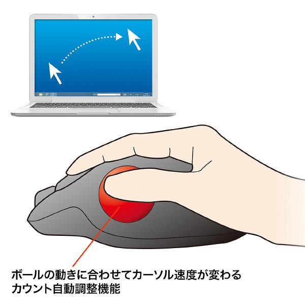 サンワサプライ 無線(ワイヤレス)トラックボール レッドレーザー方式/6ボタン MA-WTB43R (直送品)