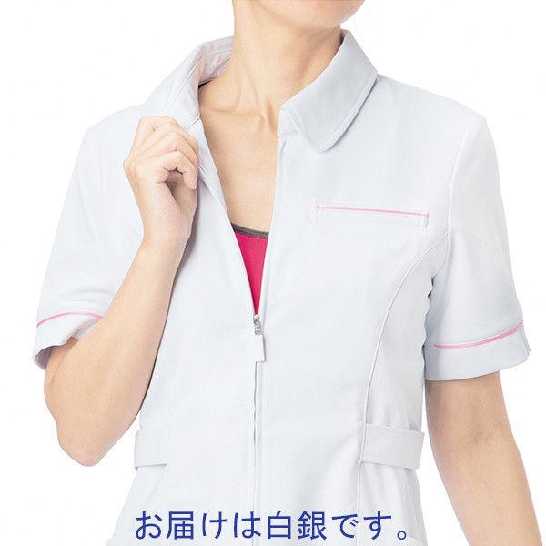 大真 透けない白衣 レディスジャケット NJ200 白銀(プラチナシルバー) S 医療白衣 1枚 (直送品)